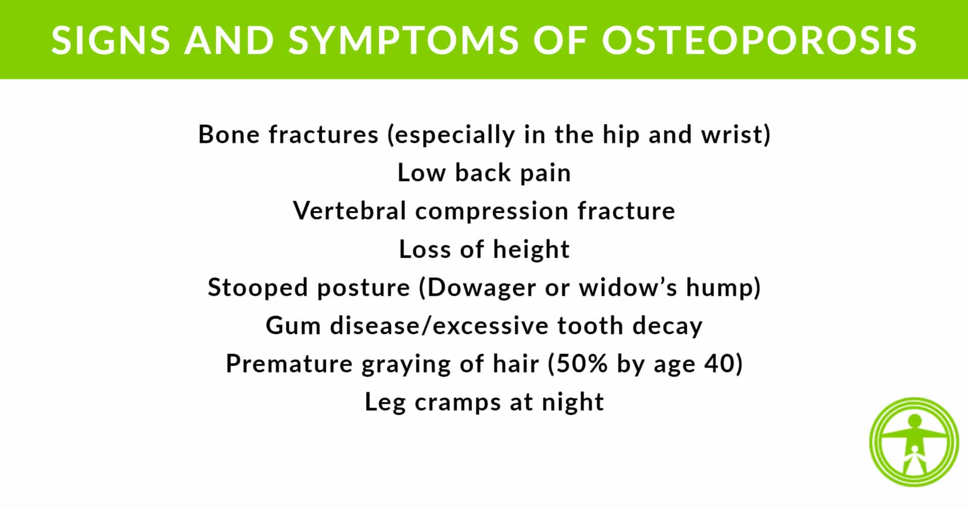 signs and symptoms of osteoporosis